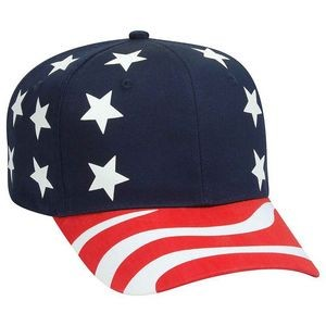 OTTO United States Flag Pattern Cotton Twill 6 Panel Pro Style Baseball Cap