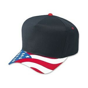 OTTO United States Flag Pattern Visor Cotton Twill 5 Panel Low Crown Baseball Cap