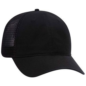 OTTO Garment Washed Superior Cotton Twill Mesh Back 6 Panel Low Profile Mesh Back Trucker Dad Hat