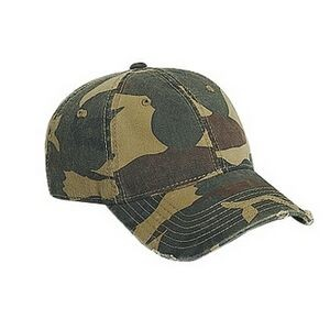 OTTO Camouflage Garment Washed Cotton twill Distressed Visor 6 Panel Low Profile Baseball Cap