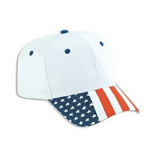 OTTO United States Flag Pattern Visor Cotton Twill 6 Panel Pro Style Baseball Cap