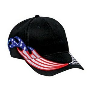 OTTO United States Flag Racing Flame Pattern Brushed Cotton Twill 6 Panel Low Profile Baseball Cap