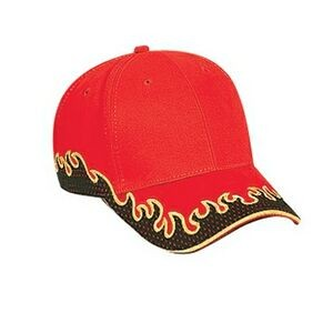 OTTO Flame Pattern Cotton Twill Polyester Mesh Sandwich Visor 6 Panel Low Profile Baseball Cap