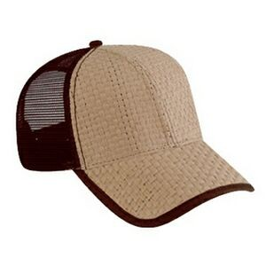 OTTO Toyo Straw 6 Panel Low Profile Mesh Back Trucker Hat