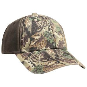 OTTO Camouflage Garment Washed Cotton Twill w/ PU Coated Back 6 Panel Low Profile Baseball Cap
