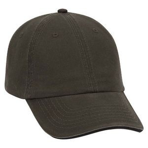 OTTO Garment Washed Cotton Twill Sandwich Visor w/ Striped Closure 6 Panel Low Profile Dad Hat