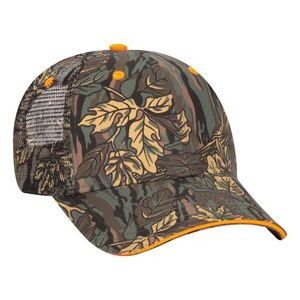 OTTO Camouflage Cotton Blend Twill Sandwich Visor 6 Panel Low Profile Mesh Back Trucker Hat