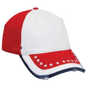 OTTO United States Flag Garment Washed Distressed Cotton Twill 6 Panel Low Profile Baseball Cap