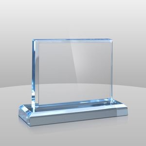 "Horizontal Mount Blue Rectangular Award II (4""x5""x2"")"