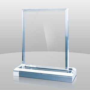 "Vertical Mount Blue Rectangular Award II (5""x4""x2"")"