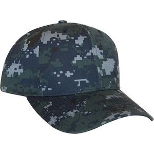 Navy Digital Camo 6 Panel Cotton/Poly Structured Cap