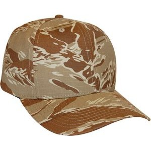 Tiger Tan Camo 6 panel structured mid crown Made in USA