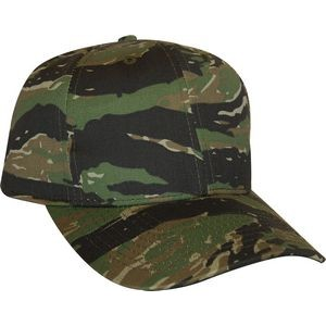 Tiger Green Camo 6 panel structured mid crown Hook and loop curved visor Made in USA