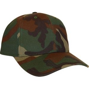 Woodland Camo 6 panel structured cap Made in USA