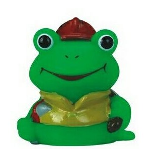 Mini Rubber Fireman Frog Toy