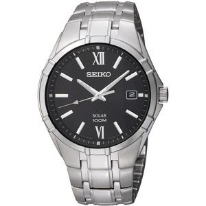 Mens Solar Silver Case Black Dial Roman Numeral At 12:00