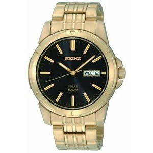 Seiko Men's Gold Tone Solar Powered Watch w/ Black Round Dial