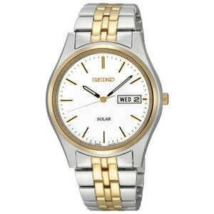 Seiko Men's Two-Tone Solar Watch w/ Round White Dial