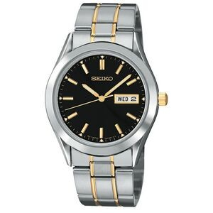 Seiko Men's Two-Tone Watch w/ Round Black Dial