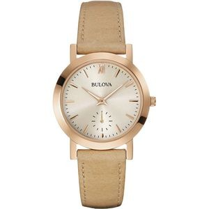 Bulova Ladies Classic Sand Leather Strap Watch