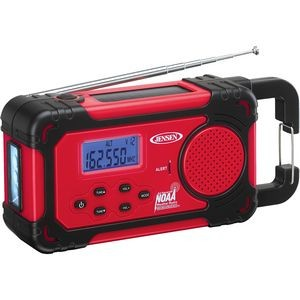 Jensen AM/FM Weather Band Weather Alert Radio with 4 Way Power with Built In Flashlight