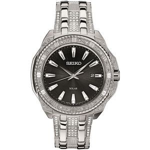 Mens Solar Silver Case Black Dial with Crystals