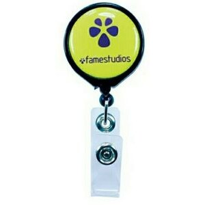 "Pull Reel / Badge Reel with Belt Clip and 1 3/16"" Diameter Round Imprint"