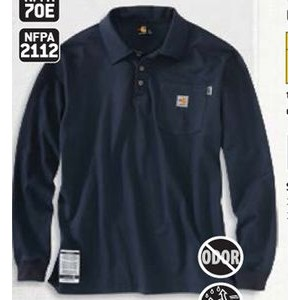 Flame Resistant Force Cotton Long Sleeve Polo